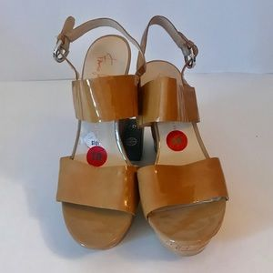 NWOT Franco Sarto Patent Leather Cork Wedge Sandal